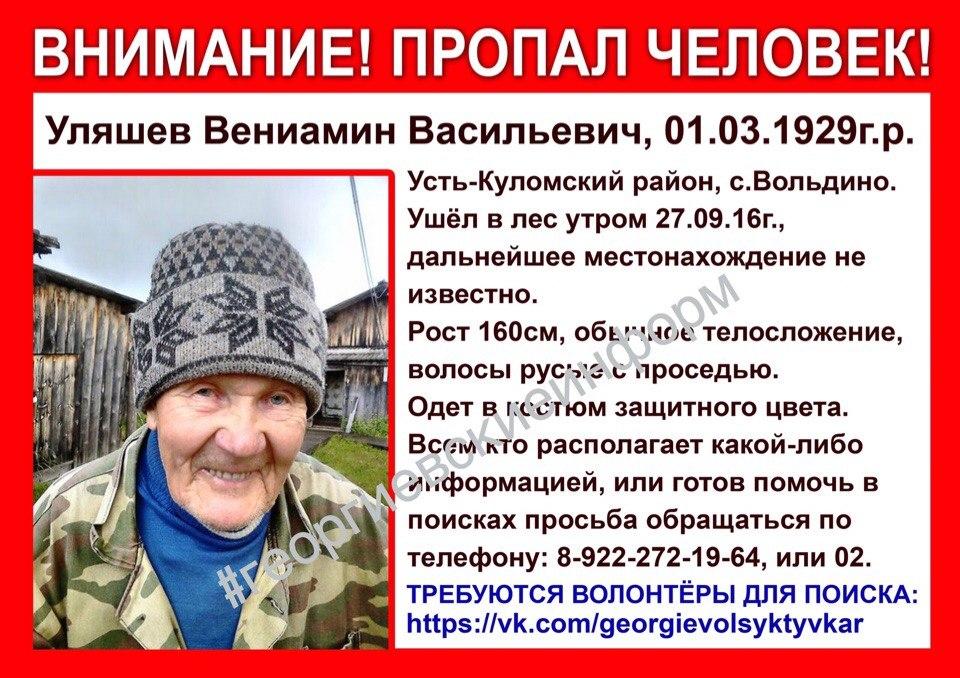 В Усть-Куломском районе 87-летний пенсионер ушел в лес на прогулку и пропал