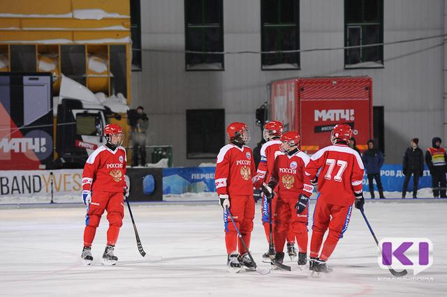 В Сыктывкаре юниорская сборная России по хоккею с мячом разгромила Казахстан