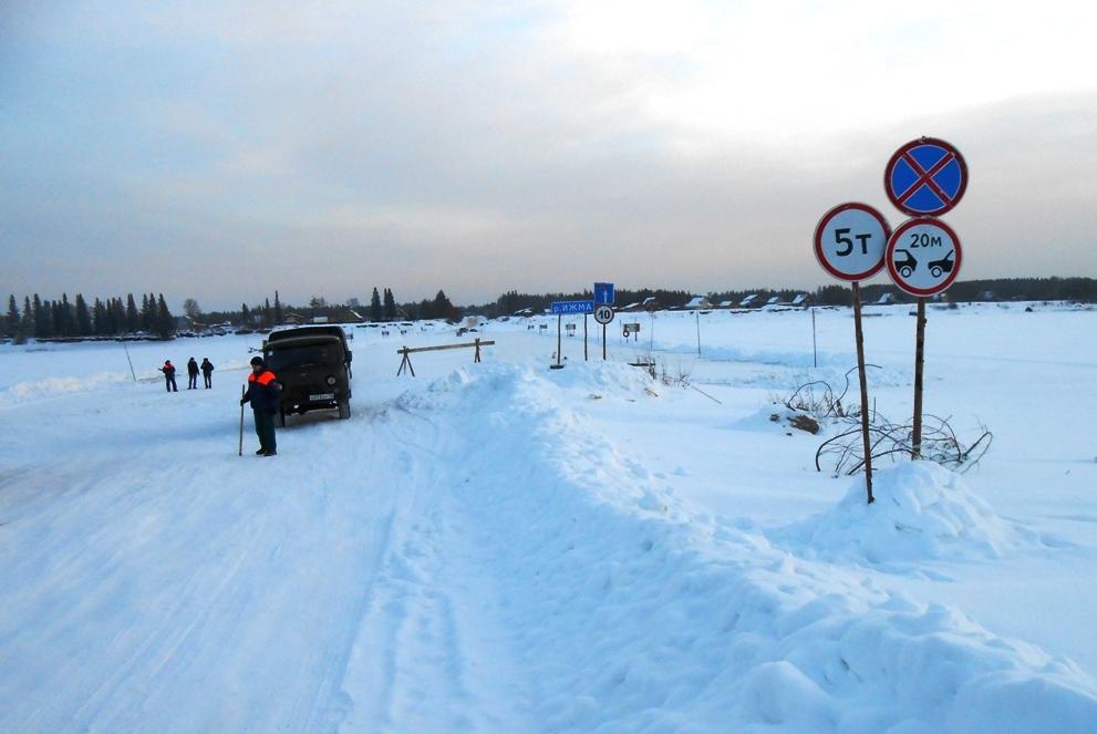 В Коми открыты первые автомобильные ледовые переправы