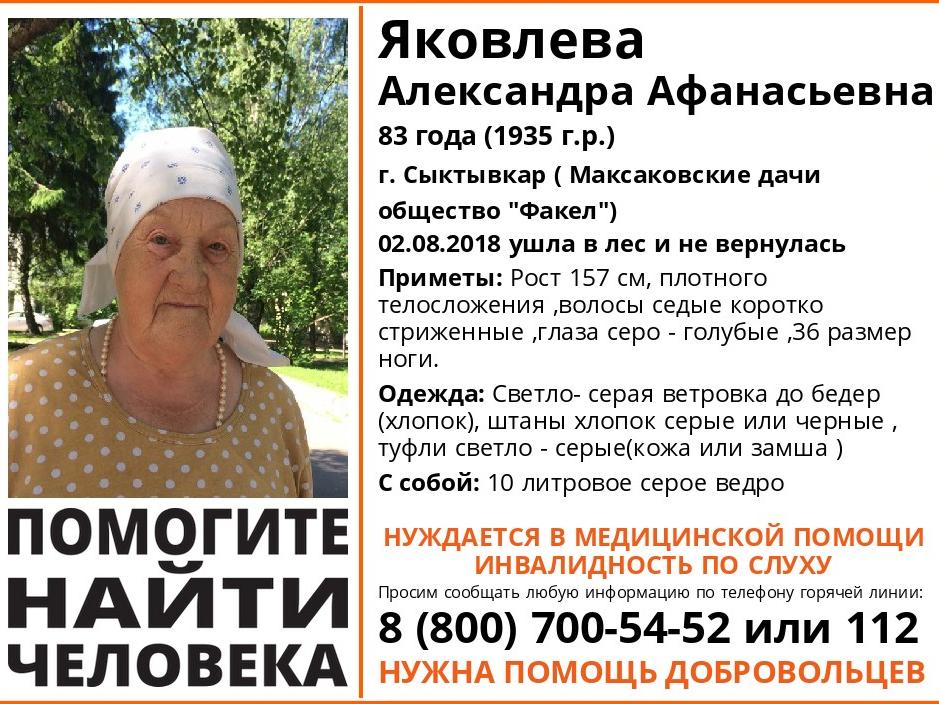 Под Сыктывкаром пропала 83-летняя женщина