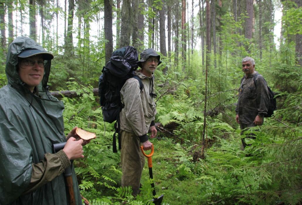 Участники рекогносцировочного похода (слева направо: П.Романова, В.Салдин, Ю.Паутов)
